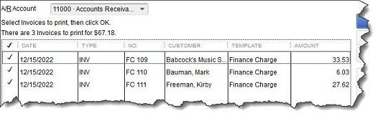 Figure 3 - Invoices with an <strong>FC</strong> preceding the number are finance charge invoices ready for printing.