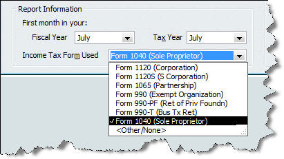 Figure 1: Make sure that QuickBooks is set up for the correct tax entity.