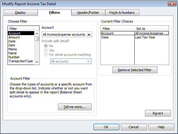 Figure 3: This window displays a powerful set of filtering options.