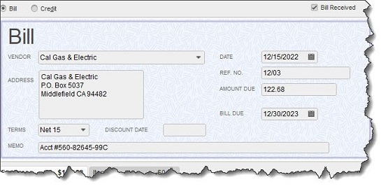 Figure 1 - QuickBooks allows you to create a record of each bill as it comes in.