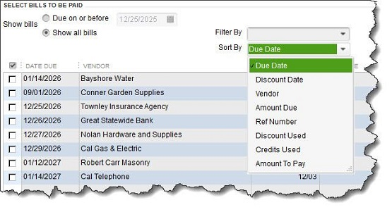 Figure 2 - You can select individual bills to pay in QuickBooks or click on <strong>Select All Bills</strong> below the table.