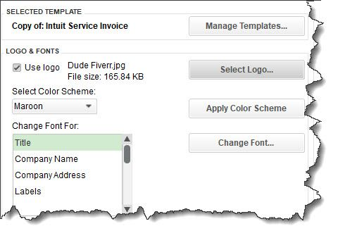 Figure 2 - You can add a logo and change the color scheme and fonts used on your invoice. The preview in the right pane (not shown here) updates to reflect your modifications.