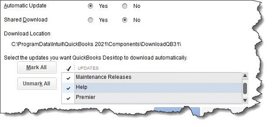 Figure 1 - You can set up automatic updates in QuickBooks to download and install new functionality and bug fixes.