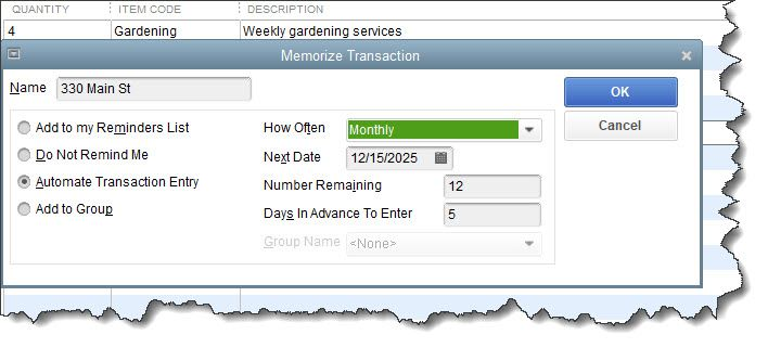 Figure 1 - When you memorize a transaction, you have multiple options for setting up its processing.