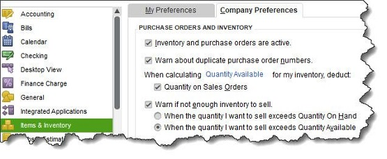 Figure 1 - Before you start working with inventory, you must make sure that QuickBooks is ready.