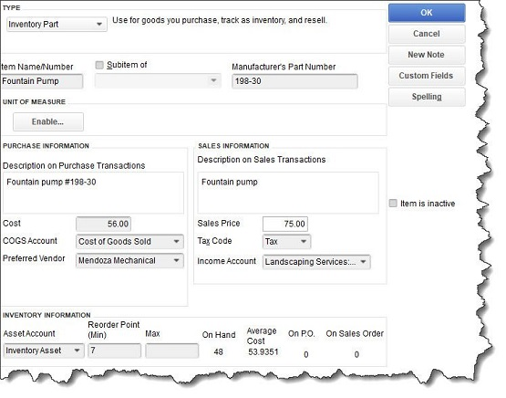 Figure 2 - QuickBooks provides detailed record templates for your item records.