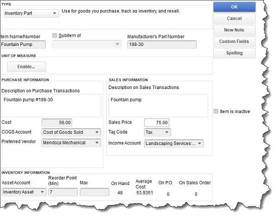 图2 - QuickBooks为项目记录提供了详细的记录模板.