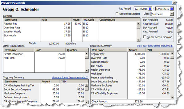 paycheck detail to see a complete breakdown of compensation and withholding all calculated automatically by quickbooks based on your setup data