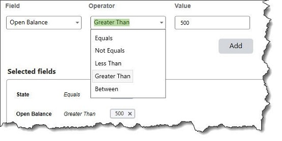 Figure 1 - You can set the parameters for your group by selecting multiple fields, operators, and values.