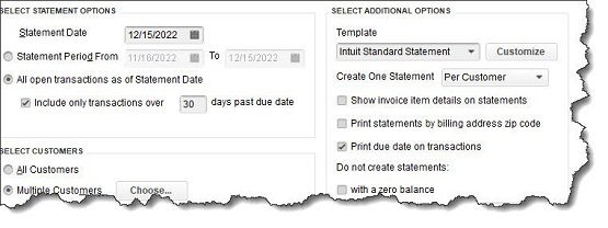 Figure 2 - You can tell QuickBooks which customers should receive statements by completing the fields in this window.