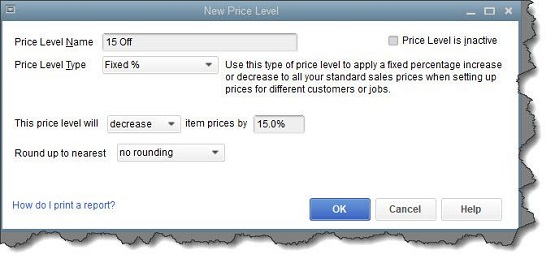 Figure 1 - You can create price levels in QuickBooks and assign them to individual sales transactions.