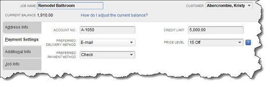 Figure 2 - You can assign a <strong>Price Level</strong> to specific customers or jobs.