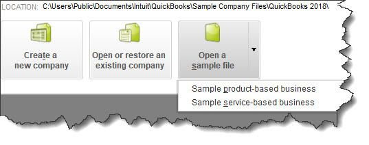 Figure 1 - QuickBooks comes with sample files that allow you to practice entering data without harming your own company file.