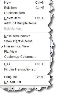Figure 2 - You'll sometimes select from lists of commands in QuickBooks. This is the menu for the <strong>Item List</strong>.