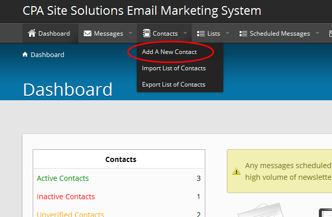 Newsletter/Email Marketing System Help: CPA Site Solutions