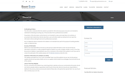 Disclaimer Page For Accounting And CPA Websites